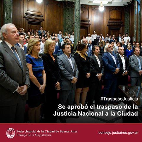 Se aprobó el traspaso de la Justicia Nacional a la órbita de la Ciudad.